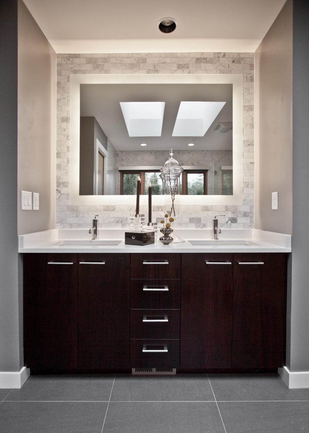 Gray Wall Paint Mirror White Granite Countertop Dark Brown in proportions 1001 X 1404