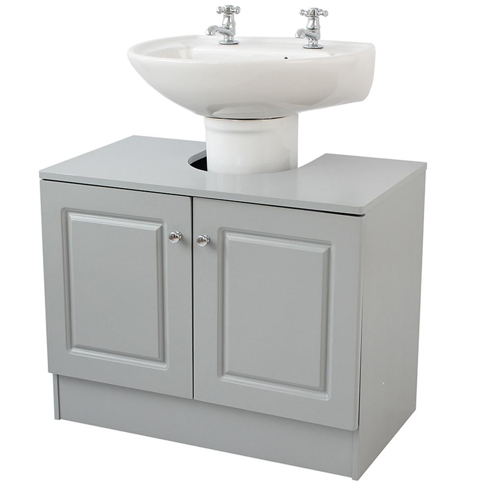 Grey Bathroom Double Door Under Sink Unit within proportions 1000 X 1000