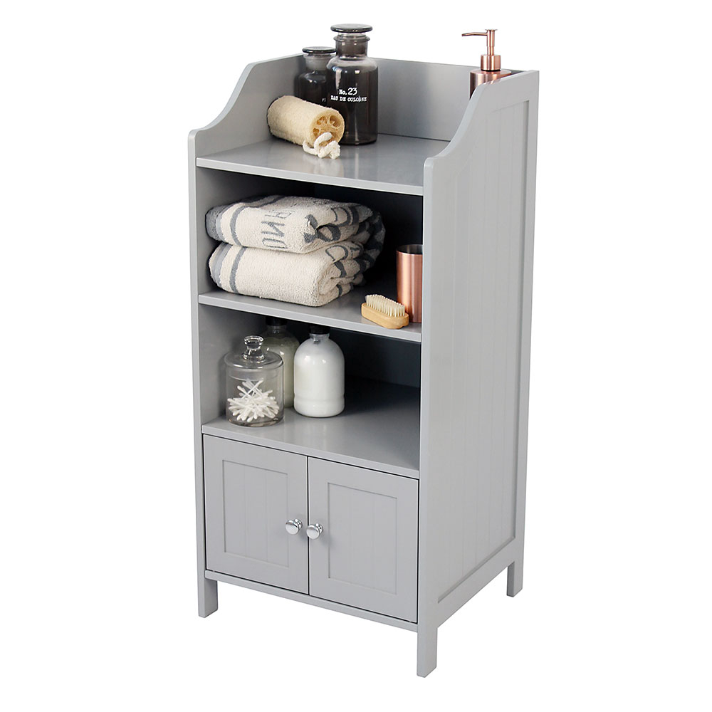 Grey Tongue Groove 2 Cupboard 3 Shelf Bathroom Storage Cabinet for proportions 1000 X 1000