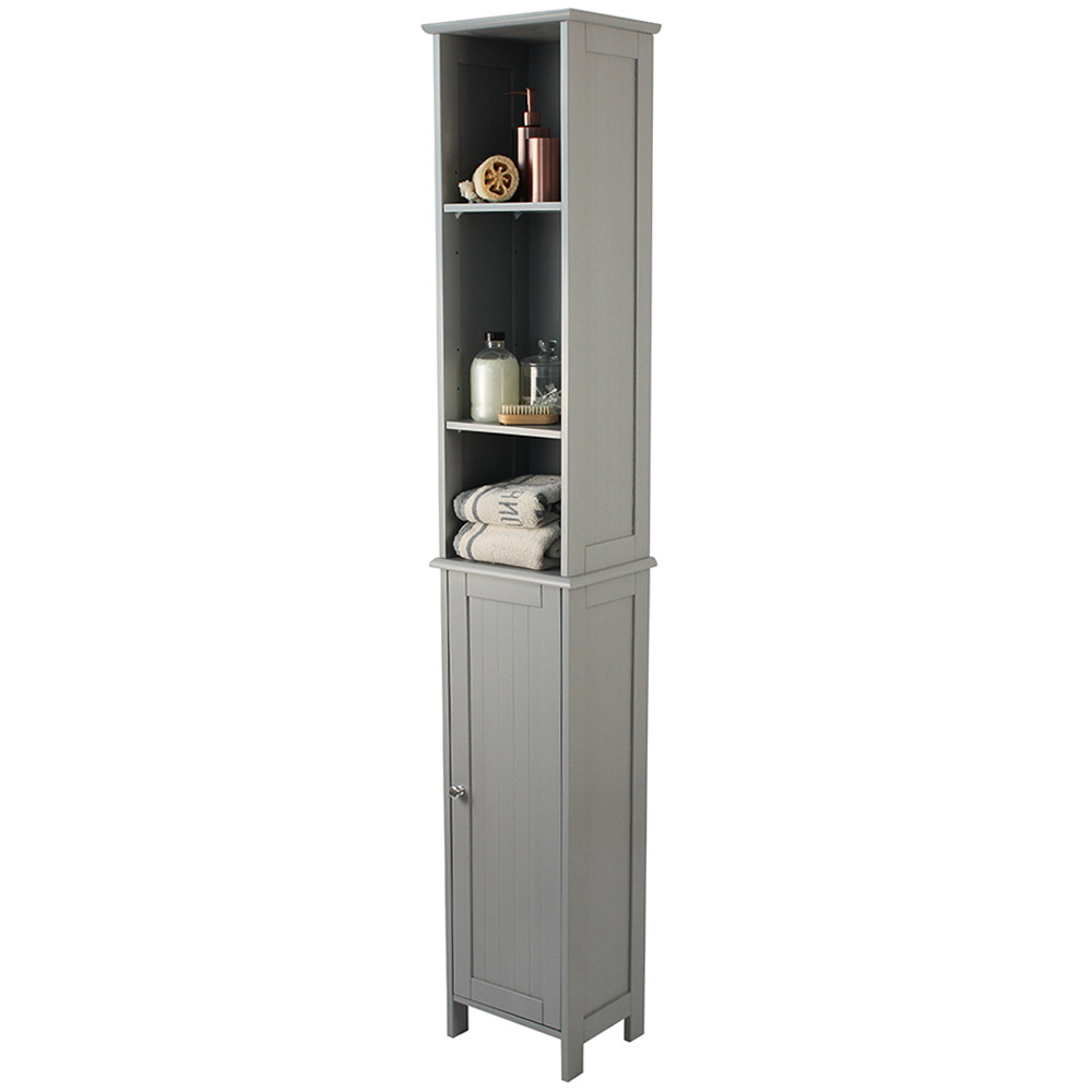 Grey Tongue Groove Tallboy Bathroom Storage Cabinet pertaining to measurements 1000 X 1000