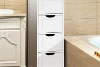 Gymax Bathroom Floor Cabinet Wooden Free Standing Storage Side Organizer W4 Drawers intended for size 1200 X 1200