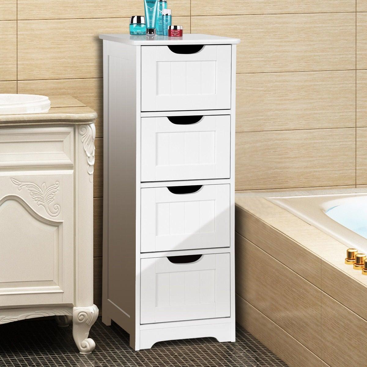 Gymax Bathroom Floor Cabinet Wooden Free Standing Storage Side Organizer W4 Drawers regarding measurements 1200 X 1200