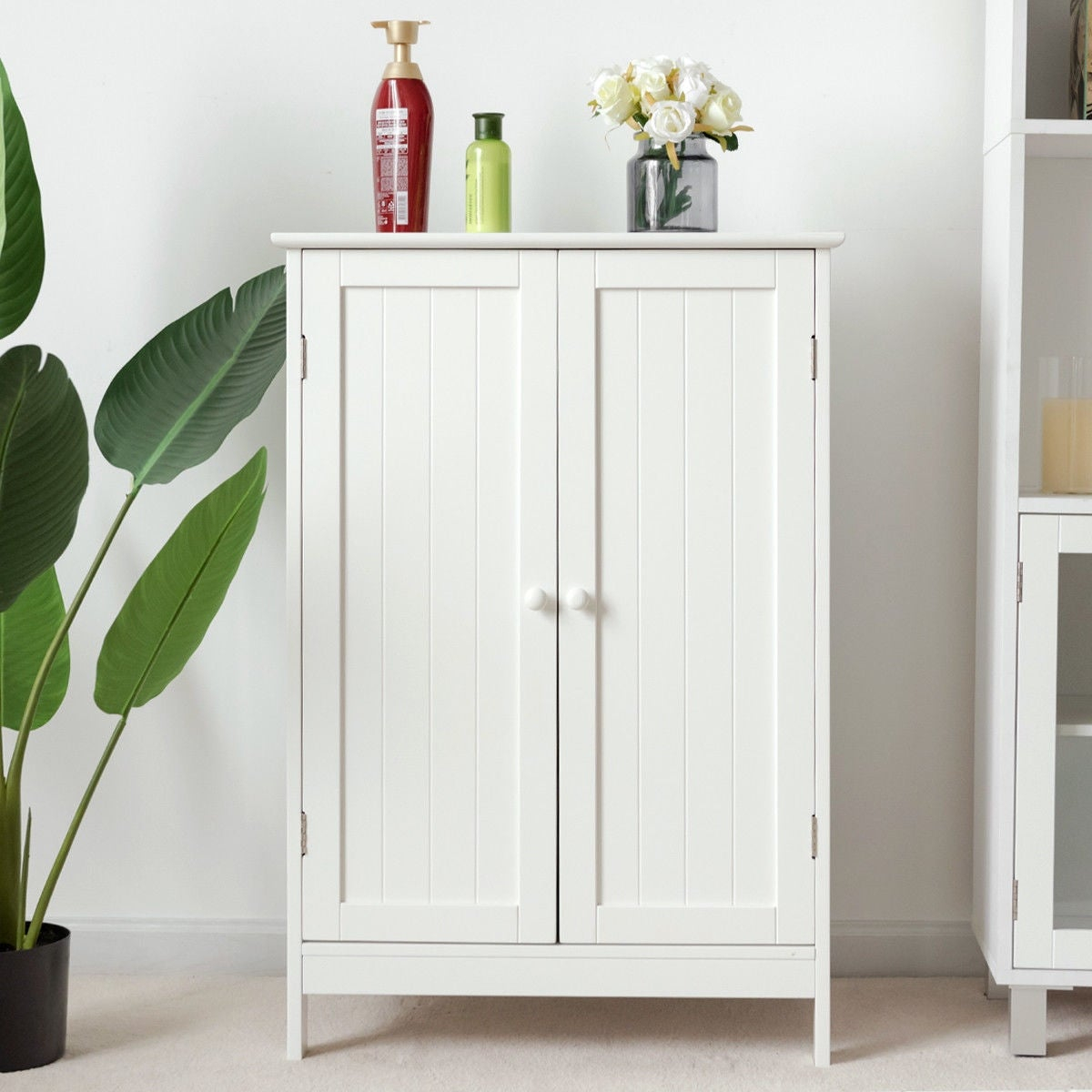 Gymax Bathroom Floor Storage Cabinet Double Door Kitchen Cupboard Shoe Cabinet White intended for proportions 1200 X 1200