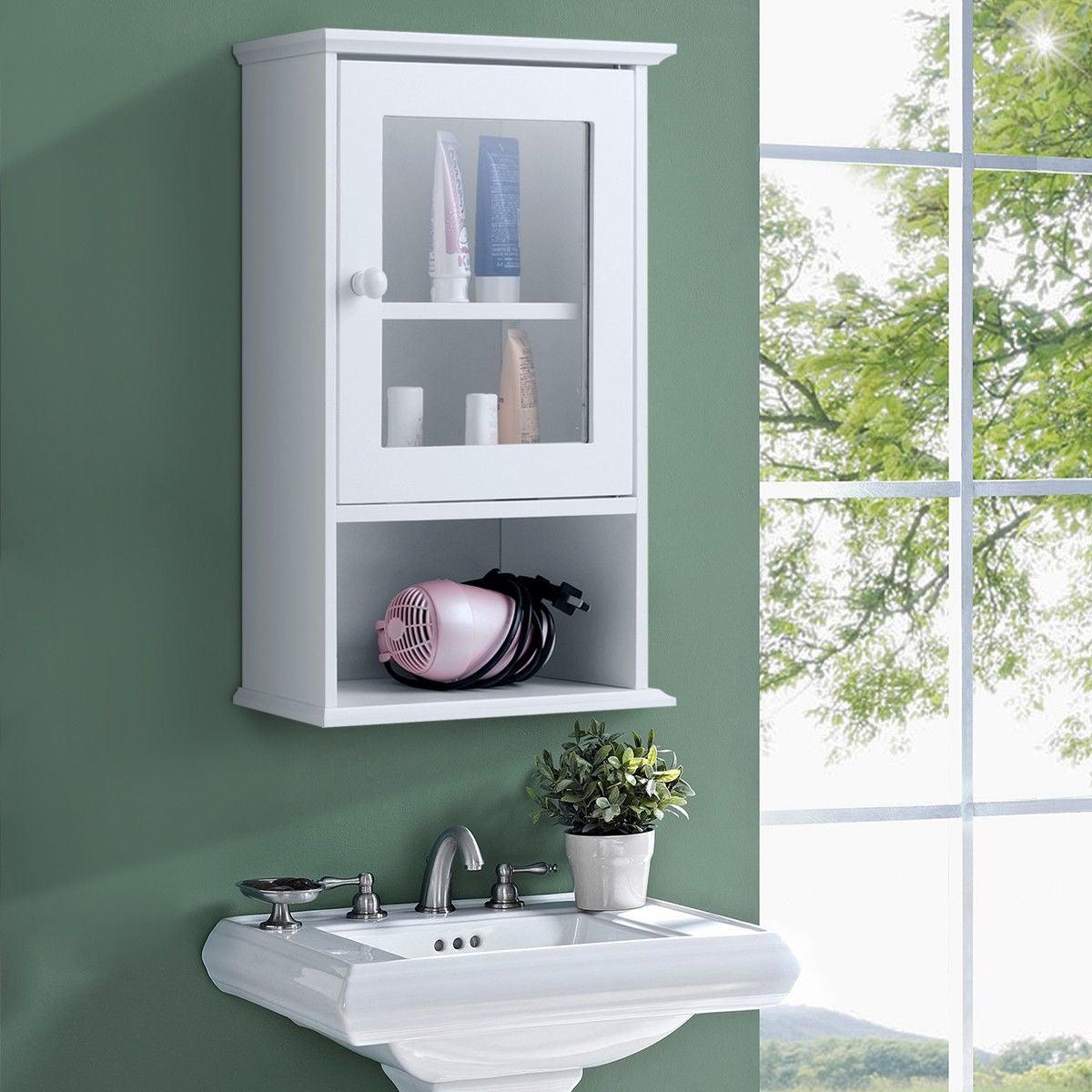 Gymax Wall Mounted Bathroom Cabinet Storage Organize Hanging Medicine Adjustable Shelf regarding proportions 1200 X 1200