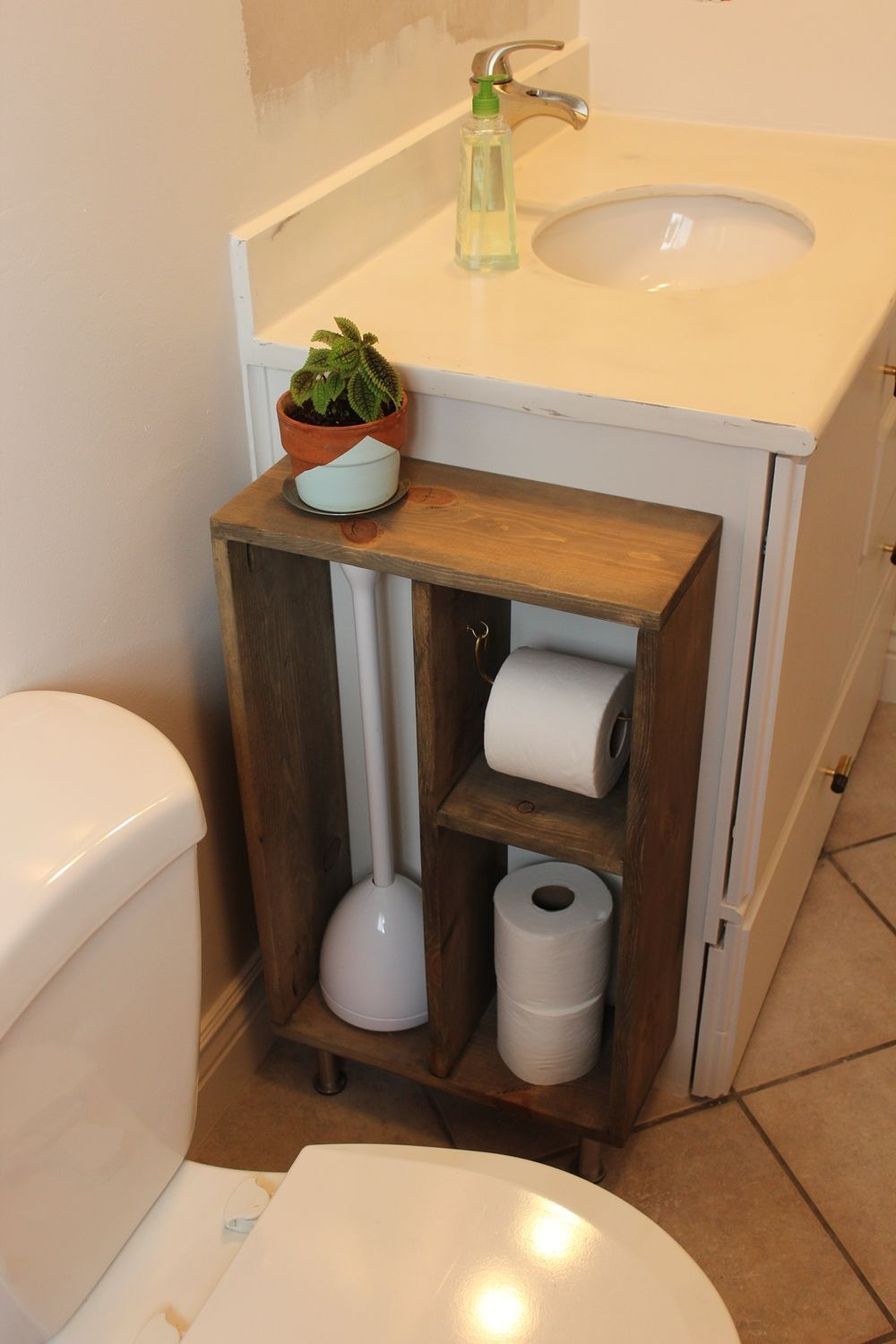 Hide Unsightly Toilet Items With This Diy Side Vanity inside dimensions 1000 X 1500