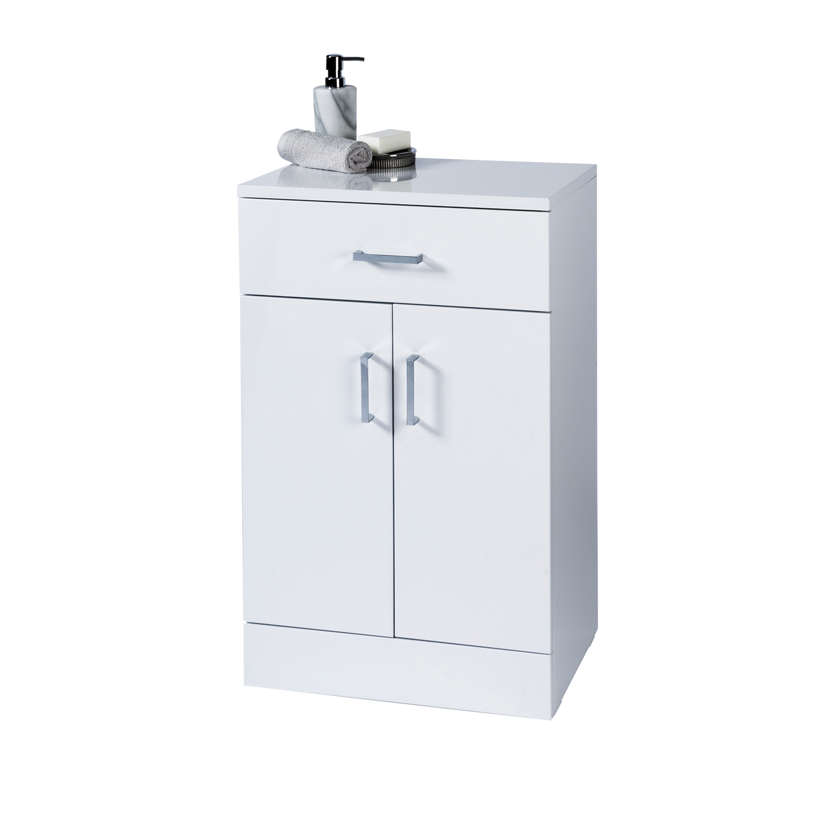 High Gloss White Salerno Bathroom Cabinet W Soft Close Double Doors intended for measurements 1600 X 1600