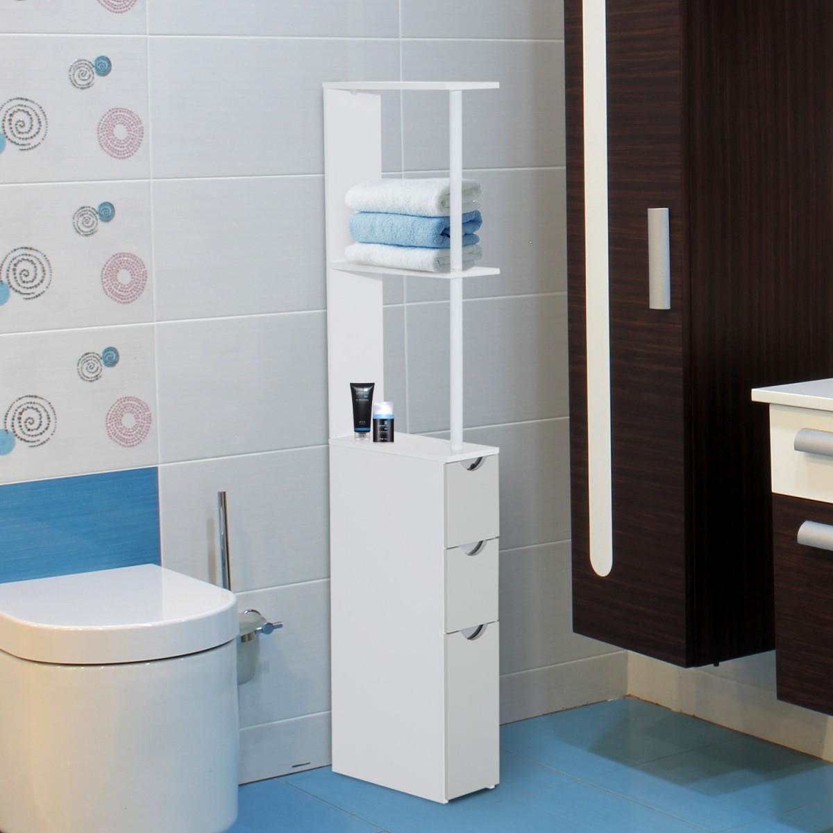 Homcom 3 Drawer Slim Bathroom Storage Cabinet in proportions 1200 X 1200