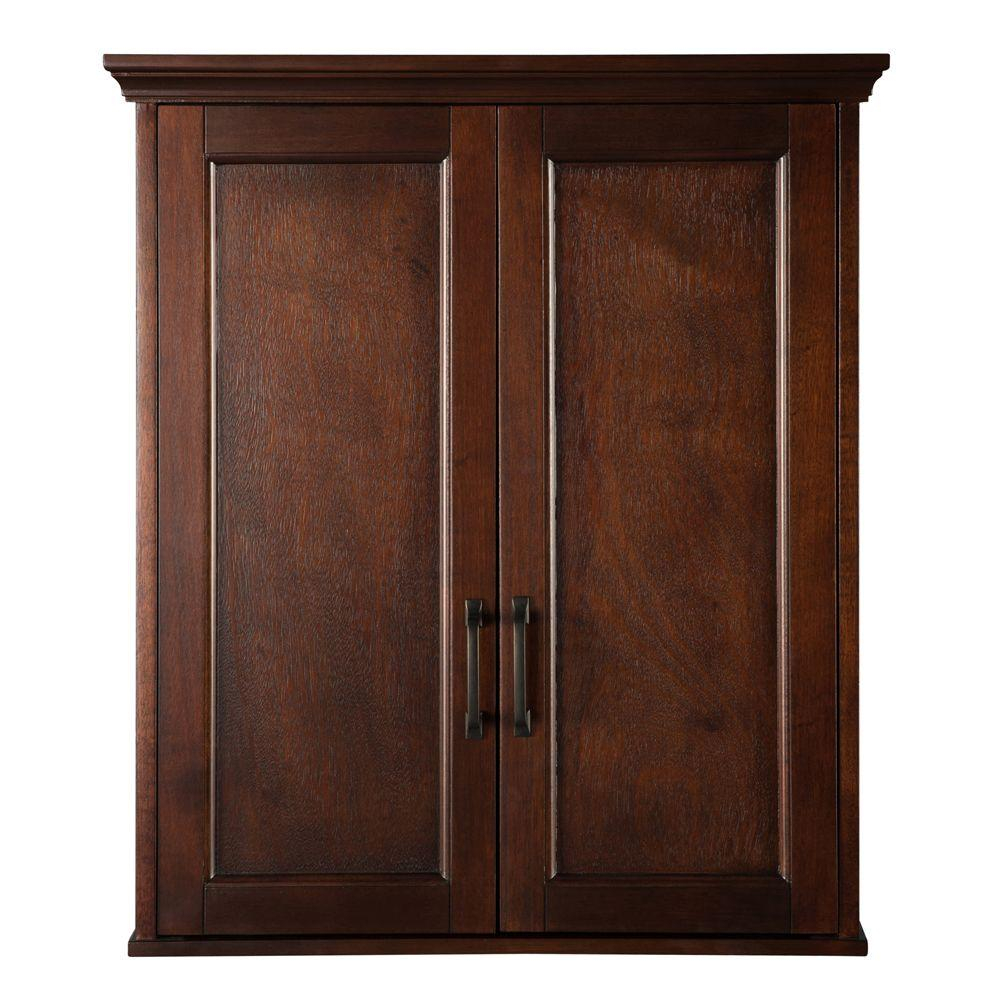 Home Decorators Collection Ashburn 23 12 In W Bathroom Storage Wall Cabinet In Mahogany with regard to size 1000 X 1000