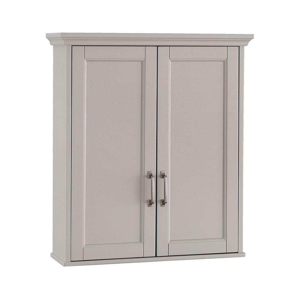 Home Decorators Collection Ashburn 23 12 In W X 28 In H X 7 88100 In D Bathroom Storage Wall Cabinet In Grey for measurements 1000 X 1000