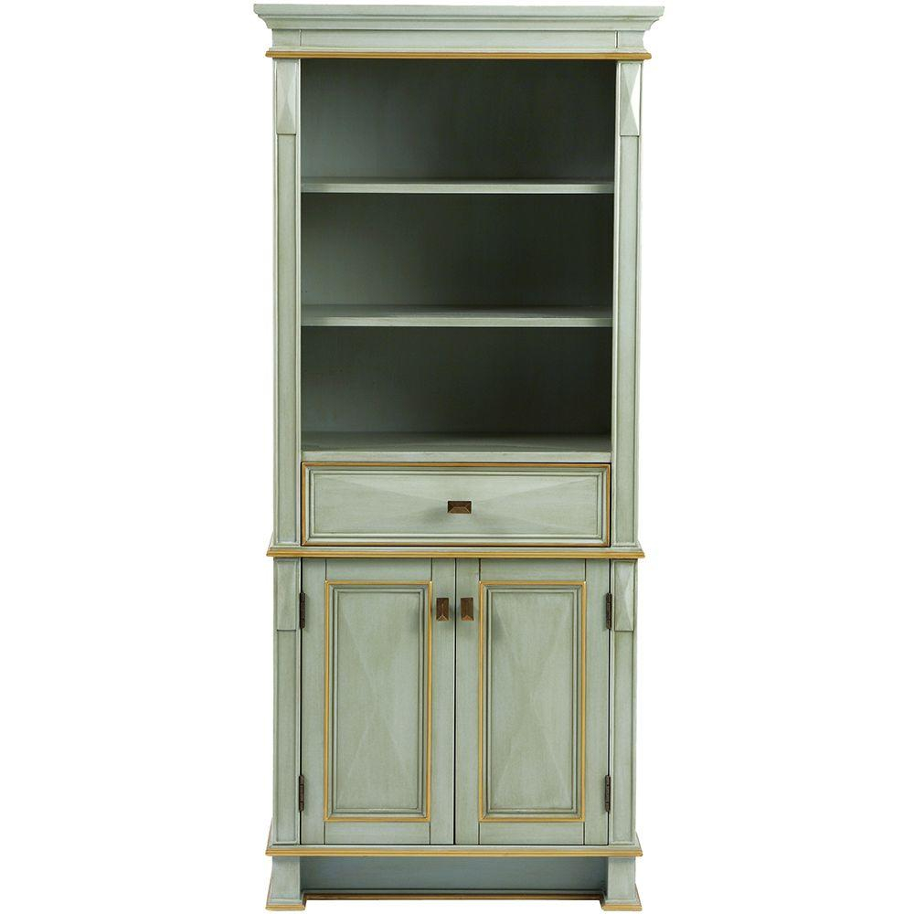 Home Decorators Collection Dinsmore 28 34 In W X 65 In H X 14 In D Bathroom Linen Storage Cabinet In Gilded Green throughout measurements 1000 X 1000