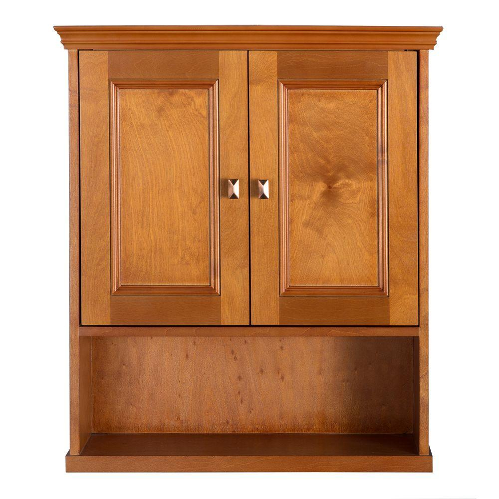 Home Decorators Collection Exhibit 23 34 In W Bathroom Storage Wall Cabinet In Rich Cinnamon regarding size 1000 X 1000