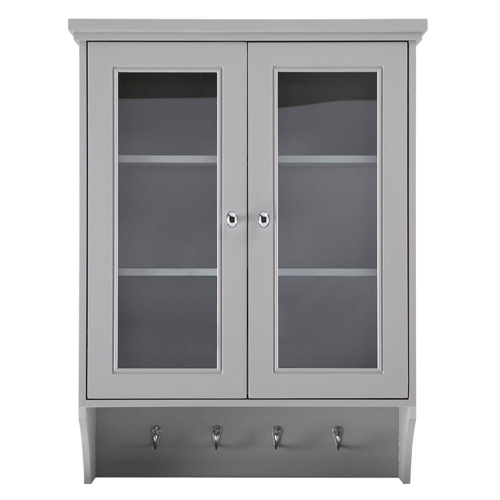 Home Decorators Collection Gazette 23 12 In W X 31 In H X 7 12 In D Bathroom Storage Wall Cabinet In Grey with sizing 1000 X 1000