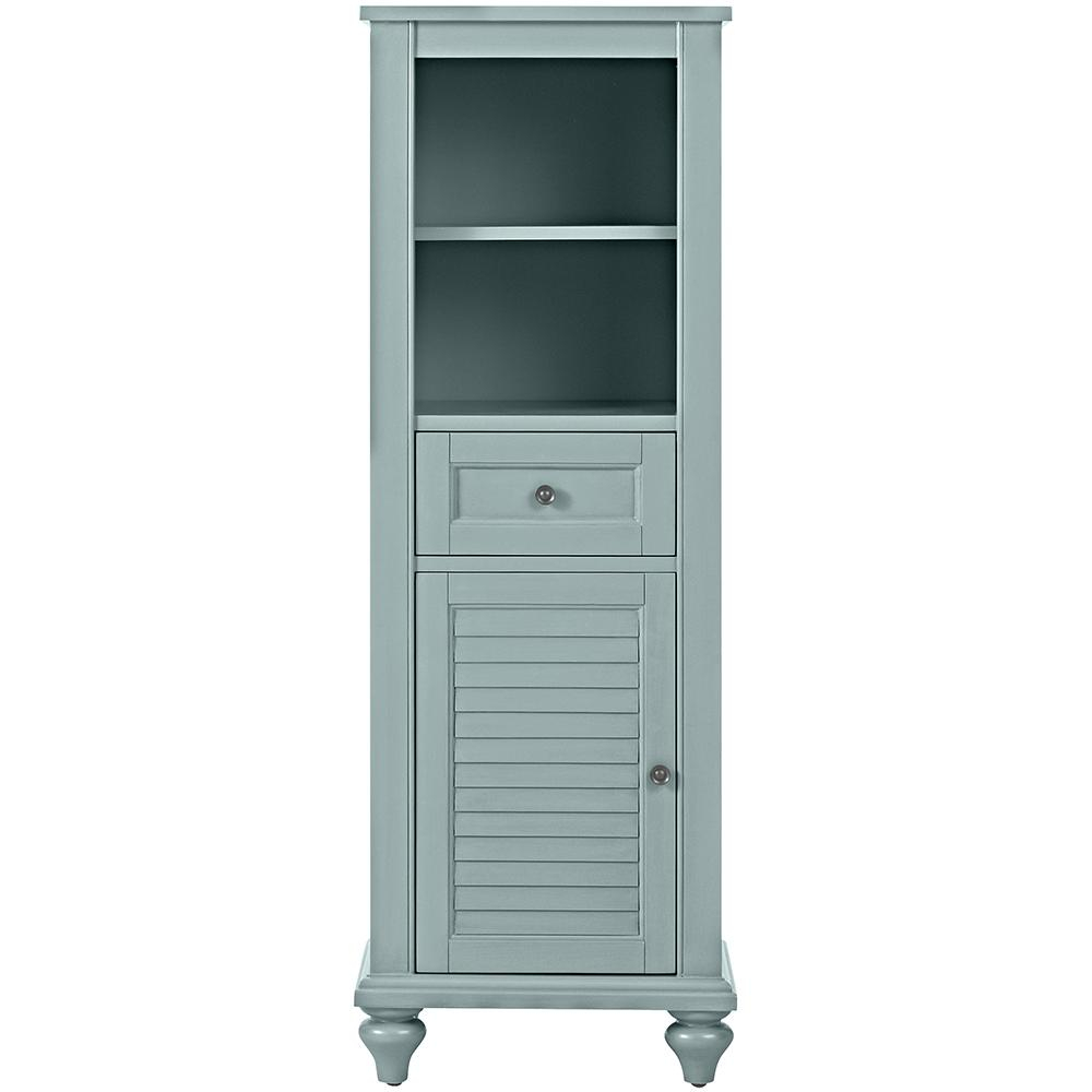 Home Decorators Collection Hamilton 18 In W X 53 In H X 14 In D Bathroom Linen Storage Cabinet In Sea Glass with regard to measurements 1000 X 1000