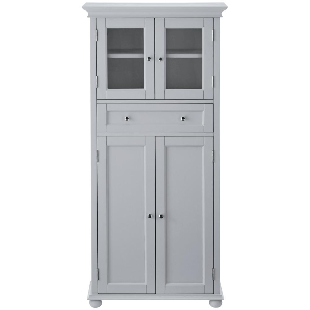 Home Decorators Collection Hampton Harbor 25 In W 4 Door Tall Cabinet In Dove Grey for sizing 1000 X 1000