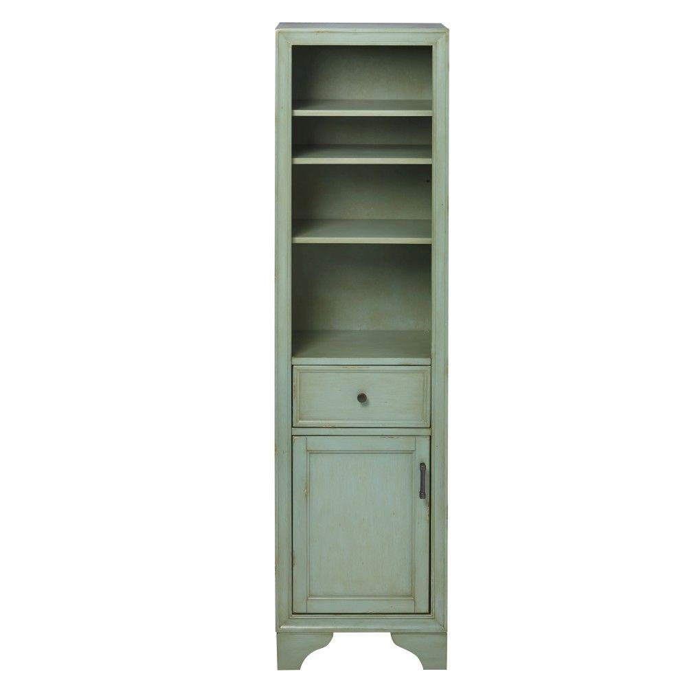 Home Decorators Collection Hazelton 18 In W X 15 In D X 67 12 In H Bathroom Linen Cabinet In Antique Green with sizing 1000 X 1000