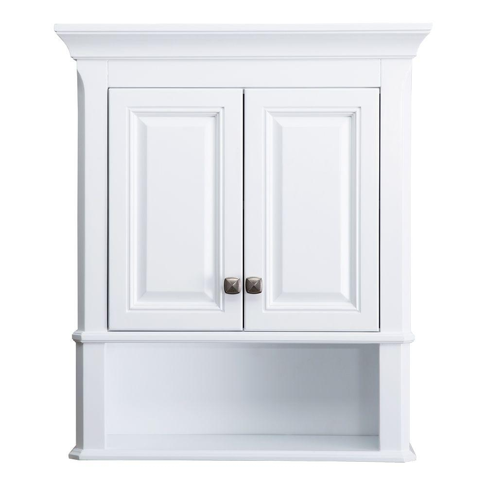 Home Decorators Collection Moorpark 24 In W Bathroom Storage Wall Cabinet In White throughout size 1000 X 1000