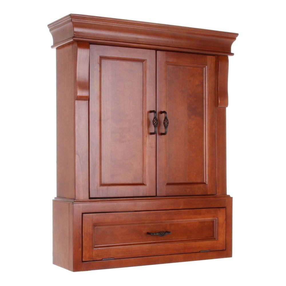 Home Decorators Collection Naples 26 34 In W Bathroom Storage Wall Cabinet In Warm Cinnamon for size 1000 X 1000