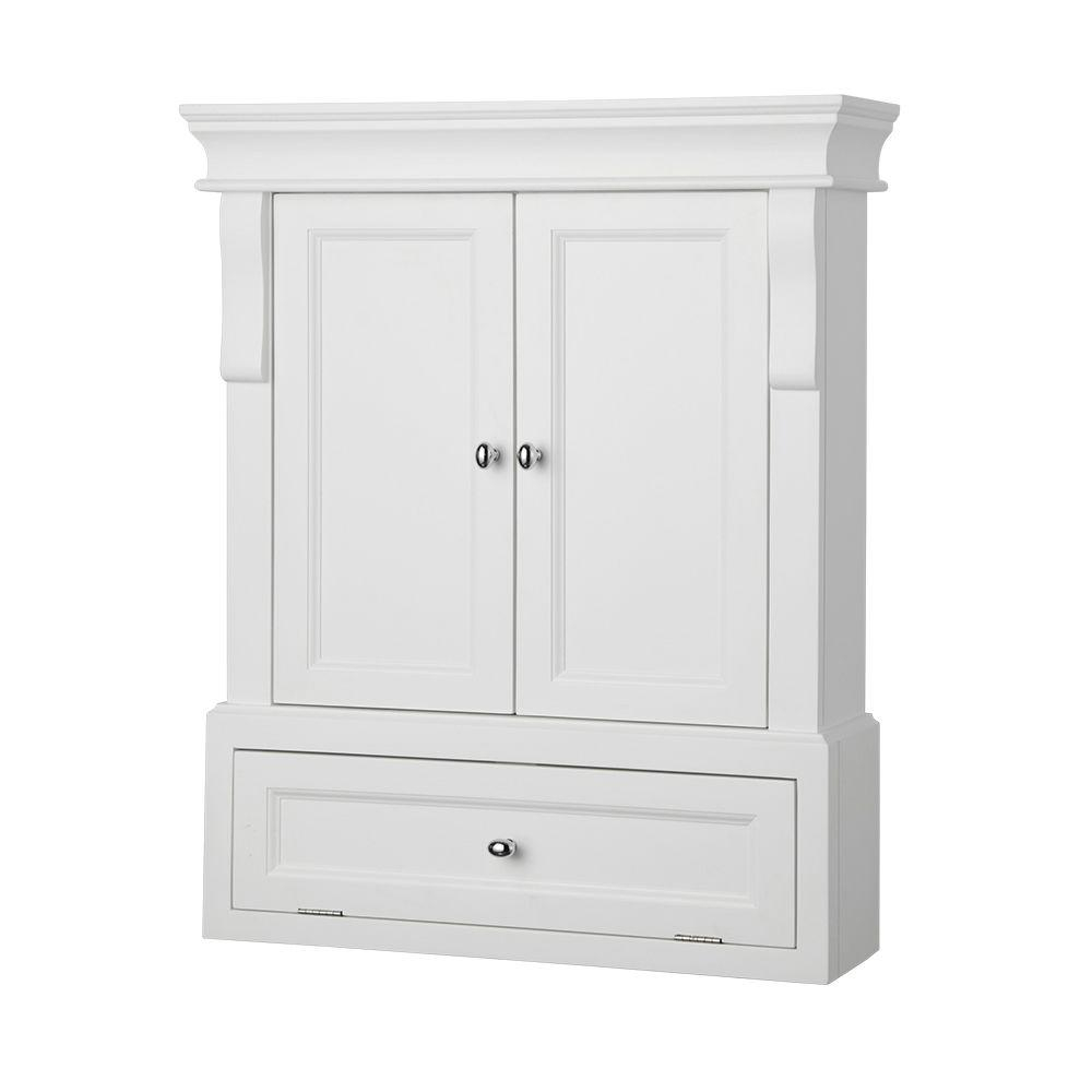 Home Decorators Collection Naples 26 34 In W Bathroom Storage Wall Cabinet In Warm Cinnamon intended for dimensions 1000 X 1000
