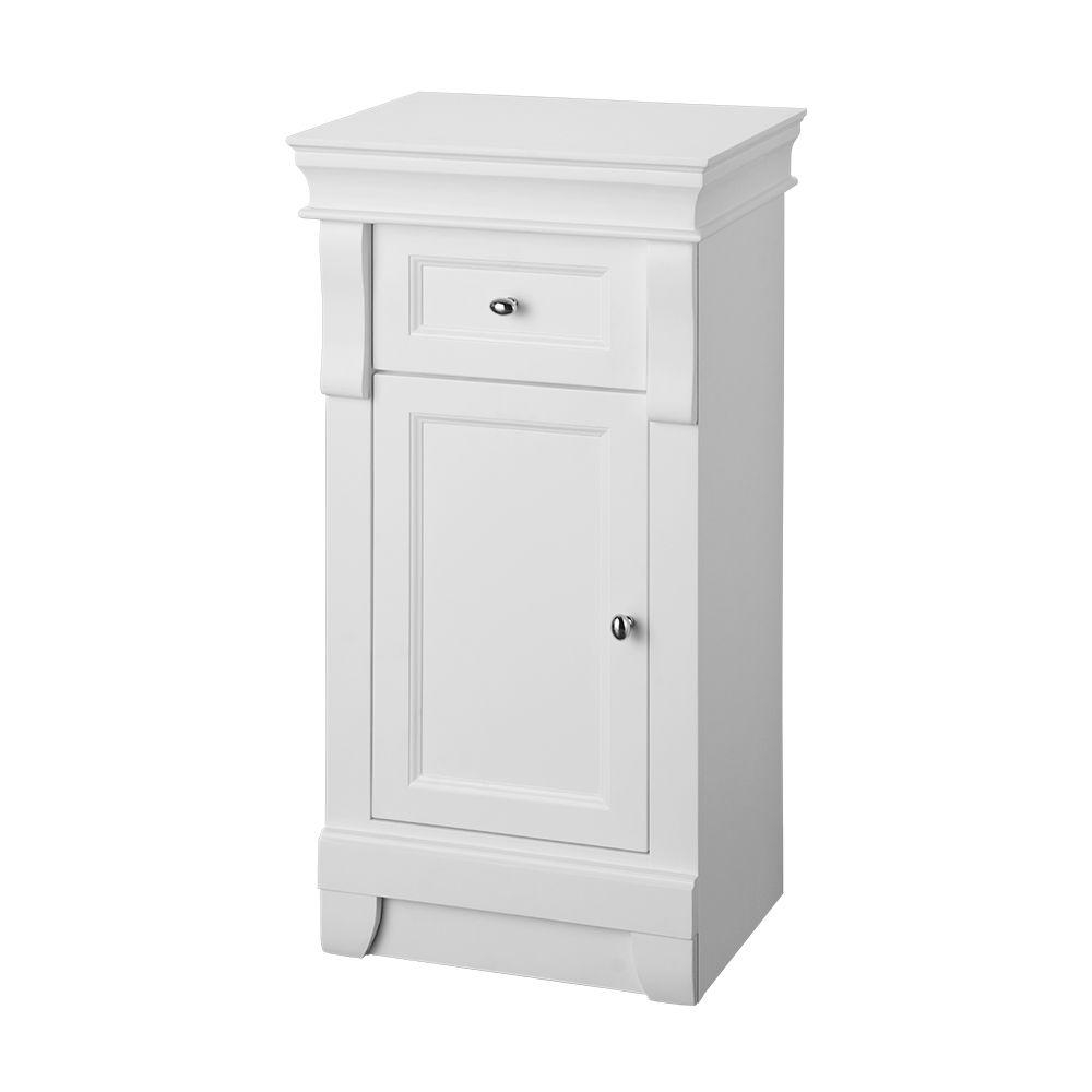 Home Decorators Collection Naples 34 In H X 16 34 In W X 14 12 In D Bathroom Linen Storage Floor Cabinet In White in sizing 1000 X 1000