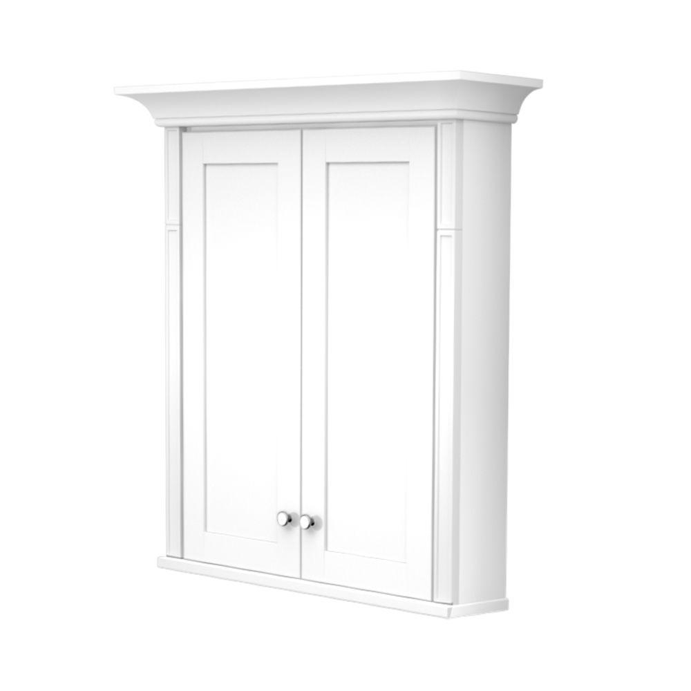 Kraftmaid 27 In W X 30 In H X 4 58 In D Bathroom Storage Wall Cabinet With Decorative Accents In Dove White intended for size 1000 X 1000