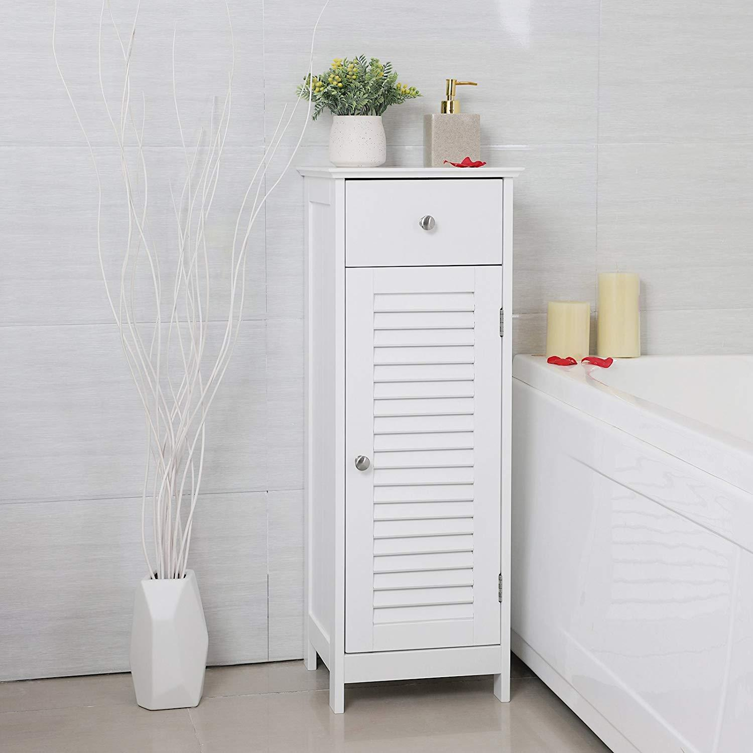 Ktaxon Bathroom Storage Floor Cabinet Bathroom Cabinet Free Standing With Single Drawer And Shelfwhite with proportions 1500 X 1500