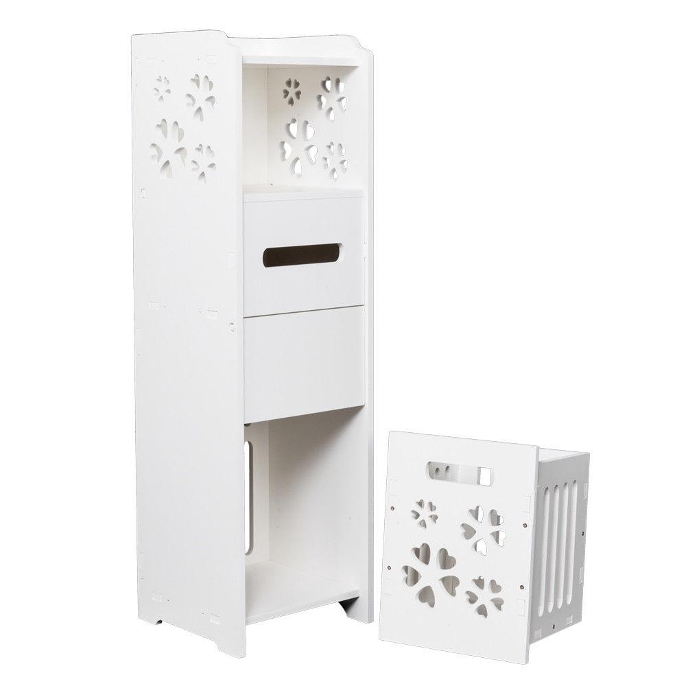 Ktaxon Slim Bathroom Storage Cabinet Toilet Floor Standing Narrow Cupboard Shelfwhite regarding sizing 1000 X 1000