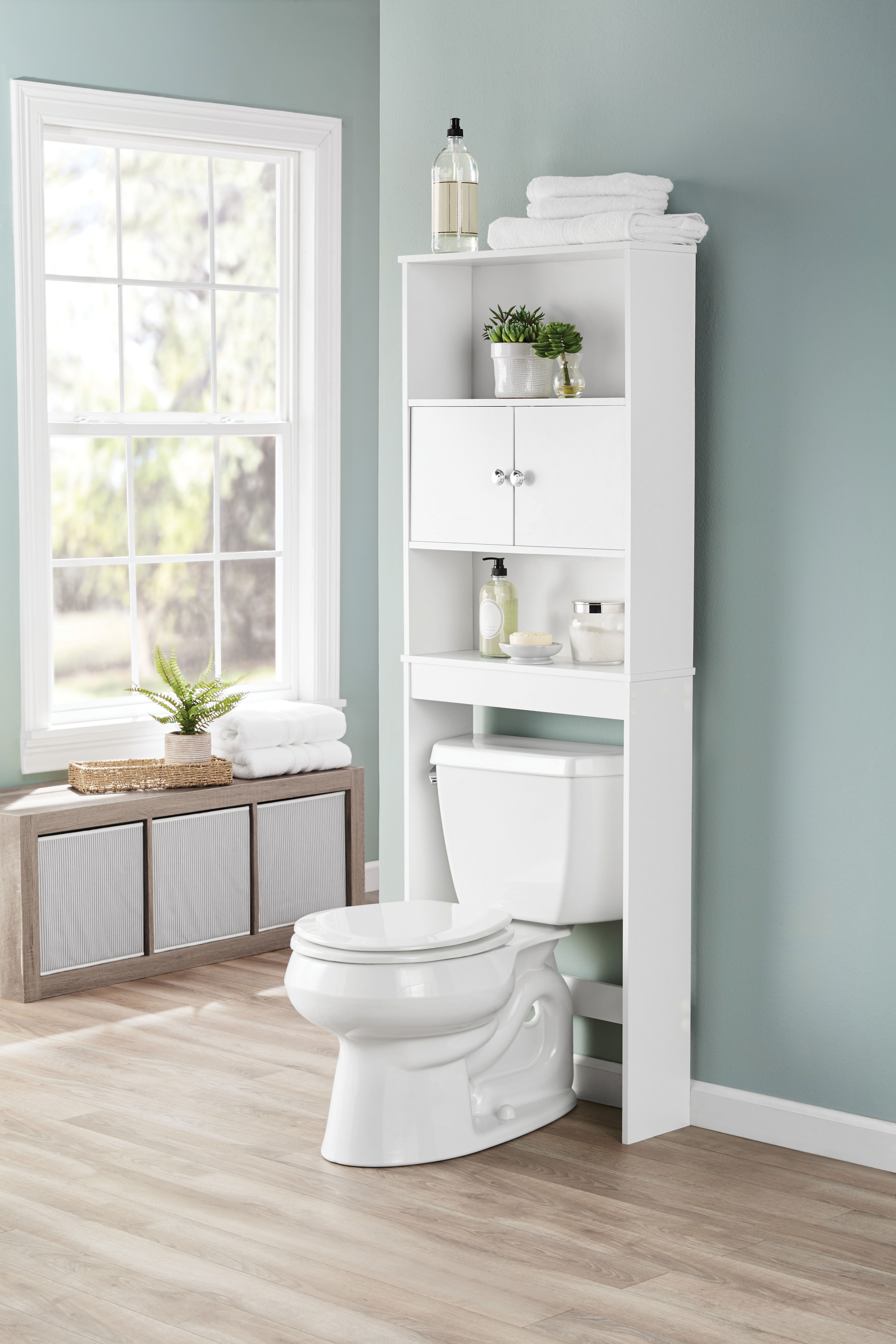 Mainstays Bathroom Storage Over The Toilet Space Saver White intended for measurements 3717 X 5575