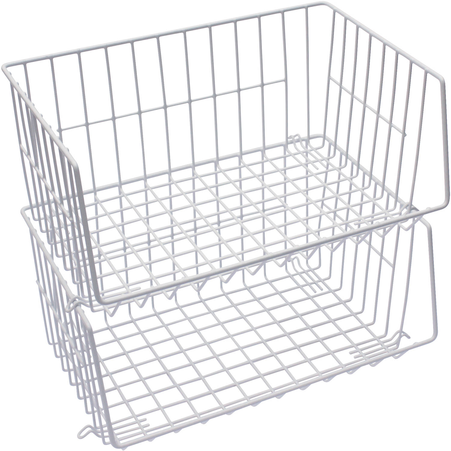 Mainstays Stacking Baskets White 2pk pertaining to proportions 1500 X 1500