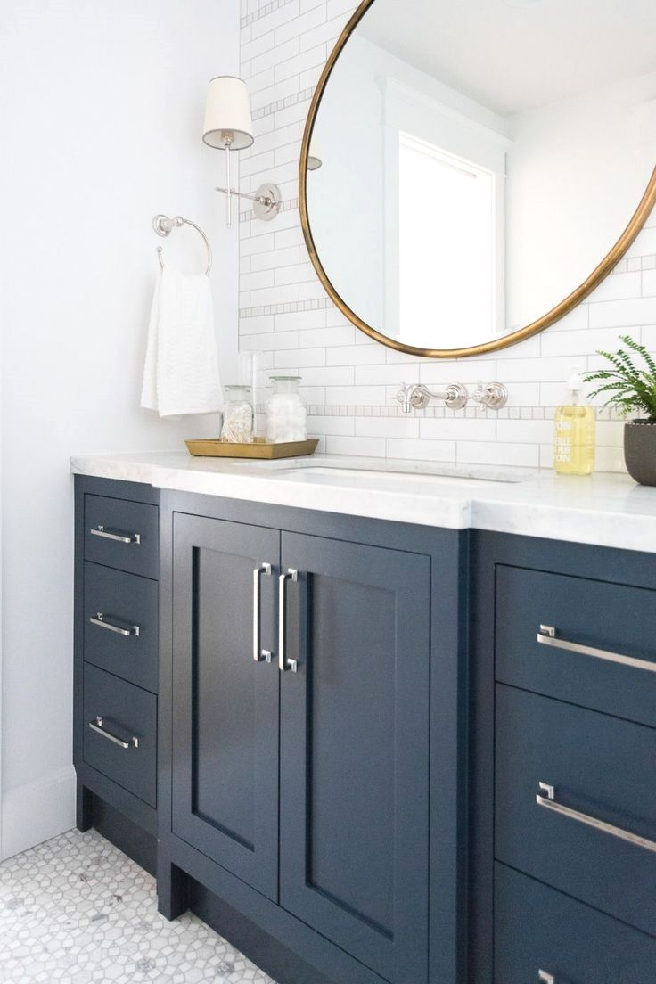 Marble Mosaic Floor And Navy Cabinets Studio Mcgee intended for sizing 736 X 1104