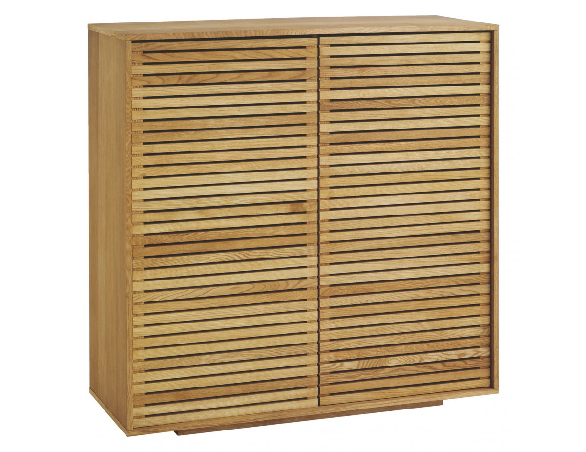 Max Oiled Solid Oak 2 Door Cupboard With Slatted Doors pertaining to proportions 1200 X 925