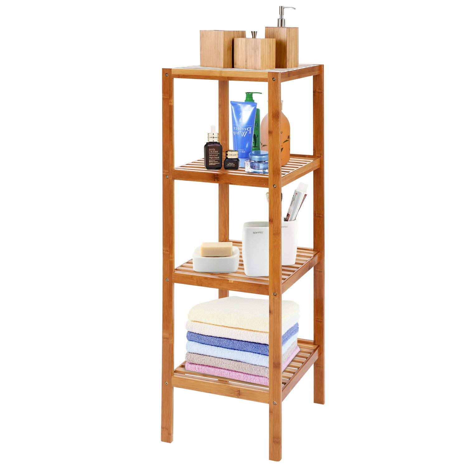 Mirage Bamboo Bathroom Shelf 4 Tier Multifunctional Storage Standing Rack Shelving Unit Tower Free Organizer 437 Height Rakuten regarding size 1500 X 1500