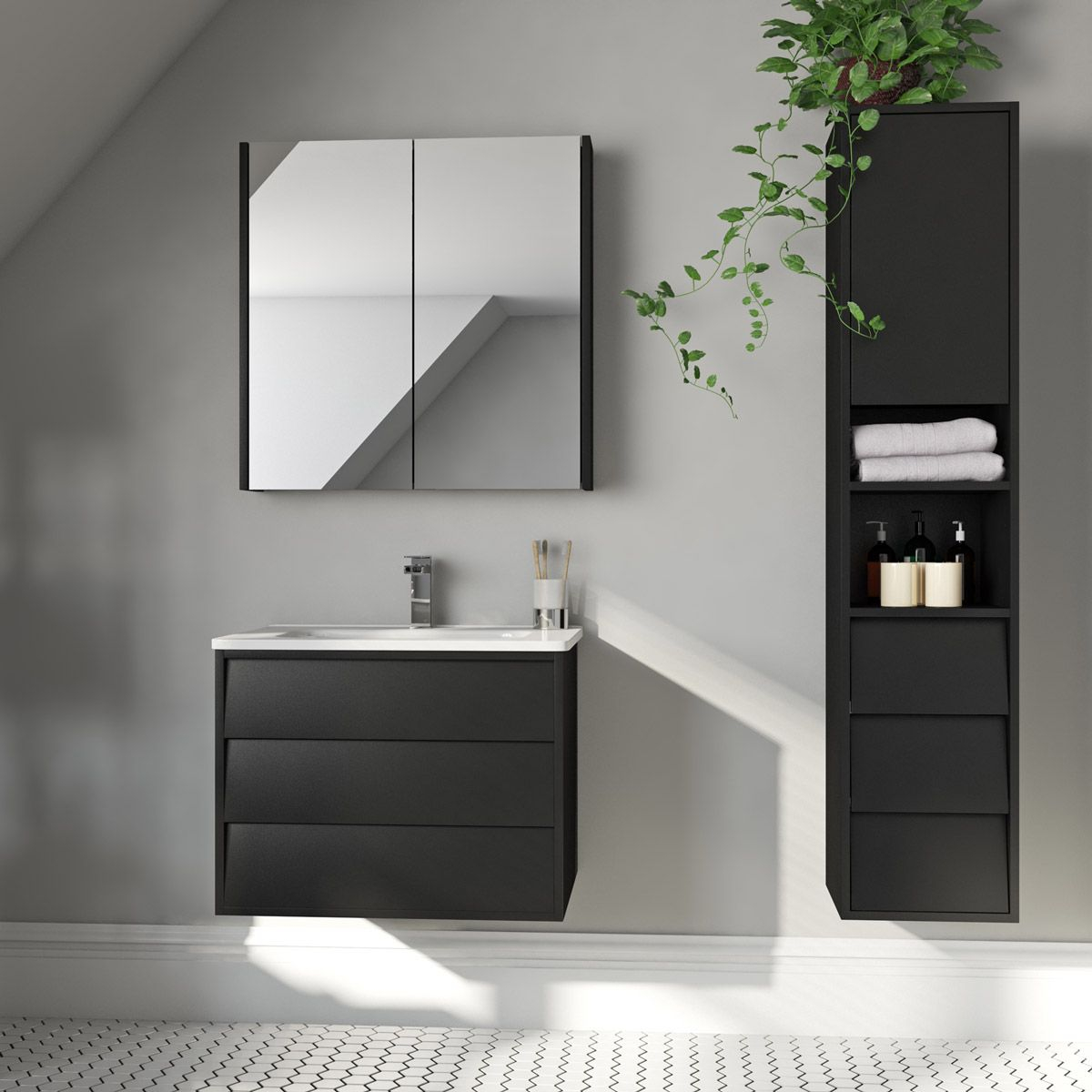 Mode Cooper Anthracite Black Furniture Package With Wall for measurements 1200 X 1200