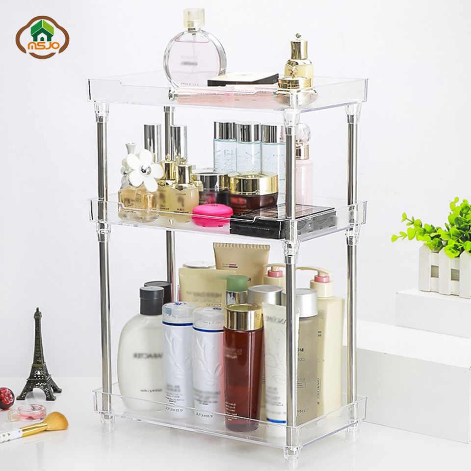 Msjo Bathroom Storage Shelf Acrylic Makeup Organizer 3 Layer Kitchen Desktop Cosmetic Organizer Box Display Stand Rack Holder inside sizing 960 X 960