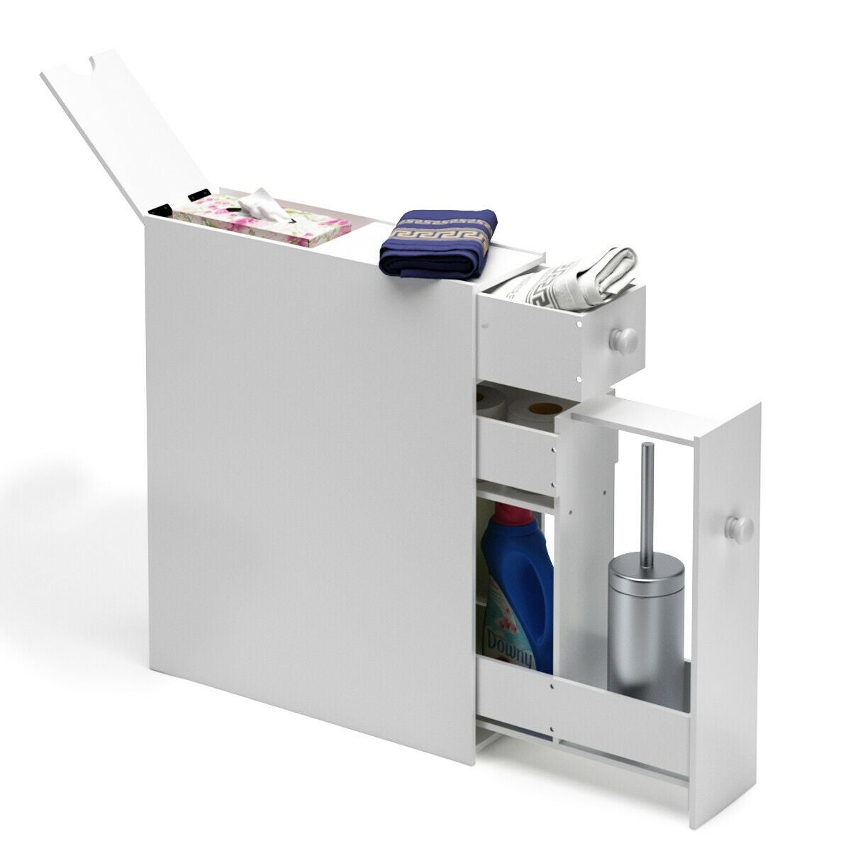Narrow Wood Floor Bathroom Storage Cabinet Holder Organizer in measurements 1200 X 1200