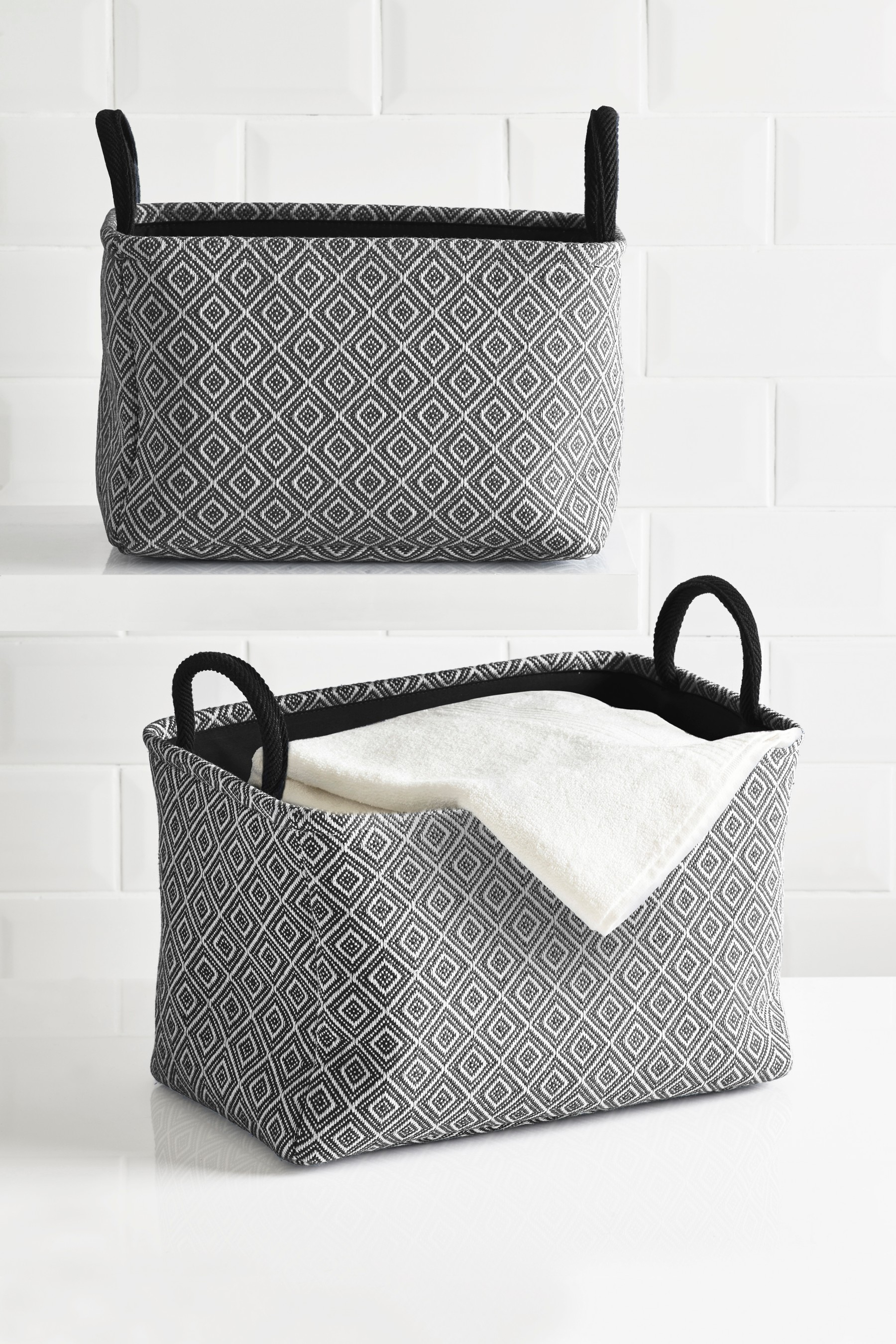 Next Set Of 2 Geometric Baskets Grey Products Linen intended for measurements 1800 X 2700