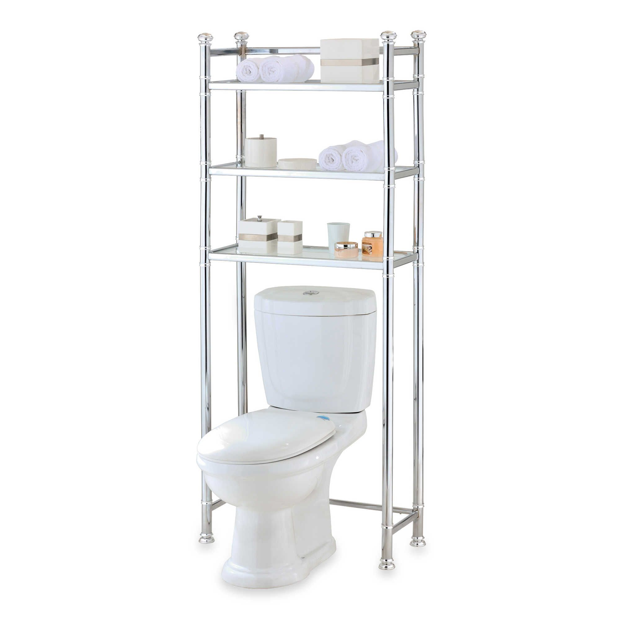 No Tools Chromeglass Bathroom Space Saver intended for size 2000 X 2000