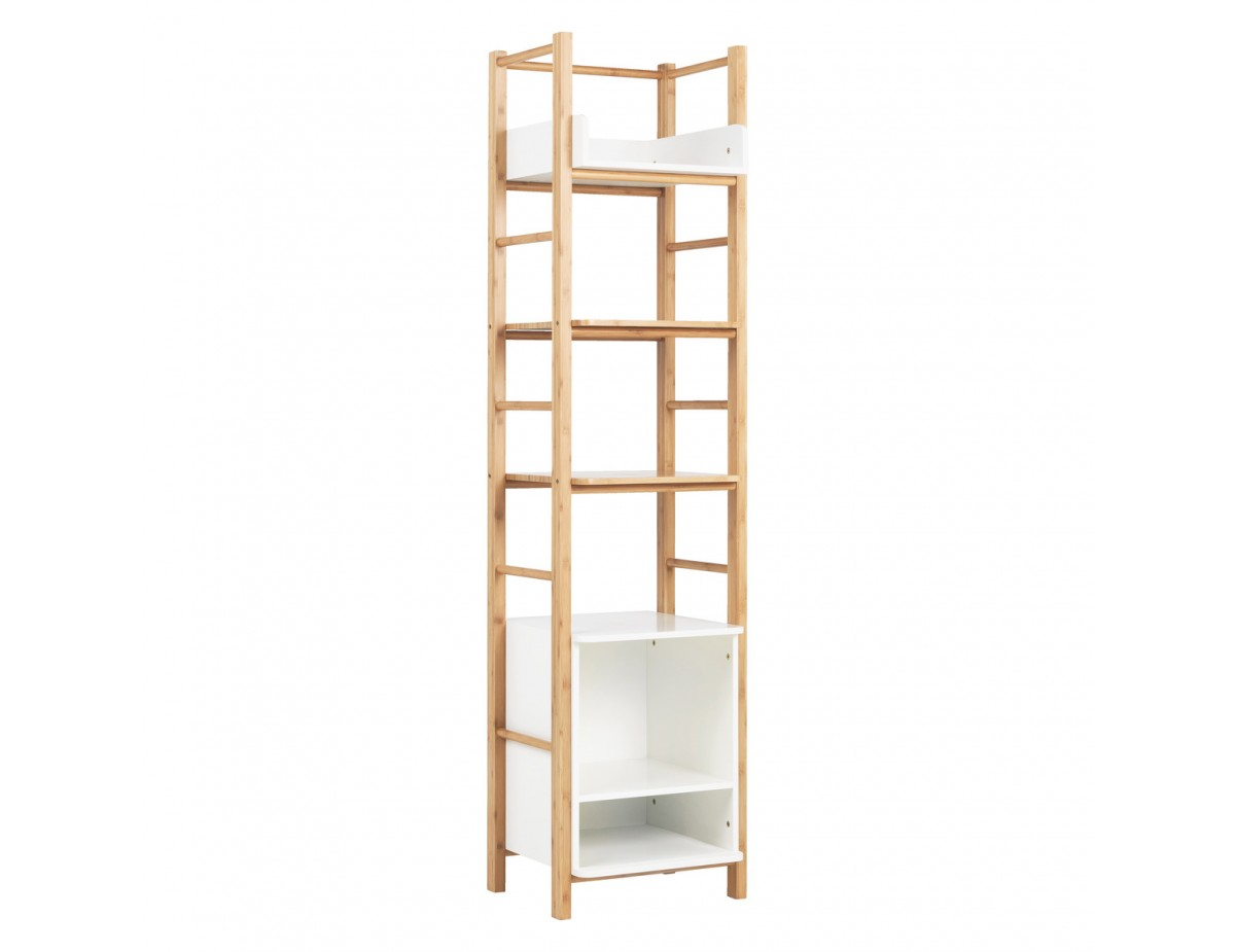 Odin Bamboo And White 6 Tier Storage Unit throughout dimensions 1200 X 925