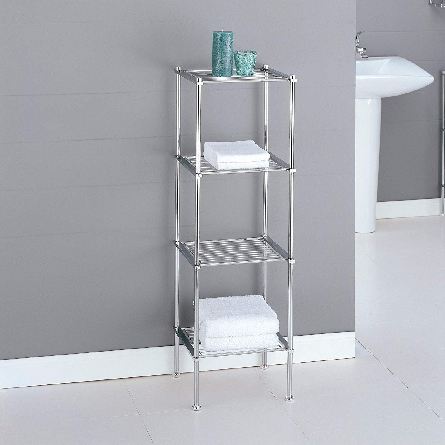 Organize It All 4 Tier Chrome Freestanding Bathroom Storage intended for proportions 1500 X 1500