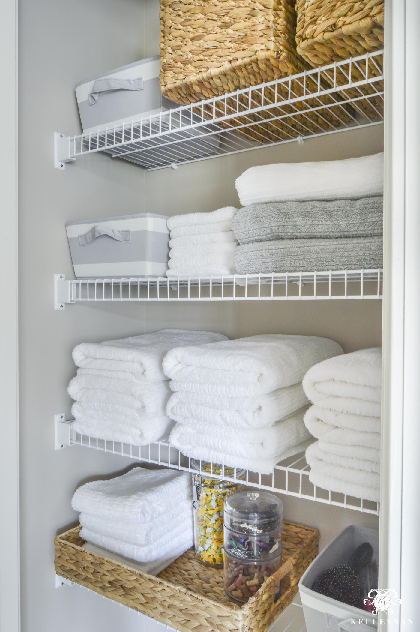 Organized Bathroom Linen Closet Anyone Can Have Kelley Nan throughout measurements 1400 X 2106