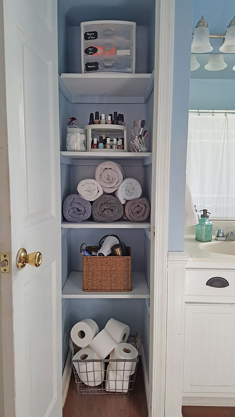 Organized Linen Closet Diyfirst Home First Apartment inside size 747 X 1328