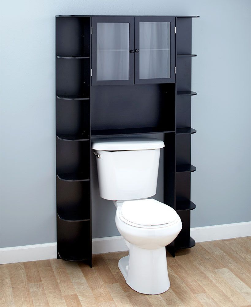 Over The Toilet Cabinet 15 Shelves Shelf Black Wood Bathroom with dimensions 819 X 1000