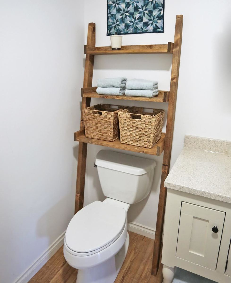 Over The Toilet Storage Leaning Bathroom Ladder Ana White inside sizing 979 X 1200