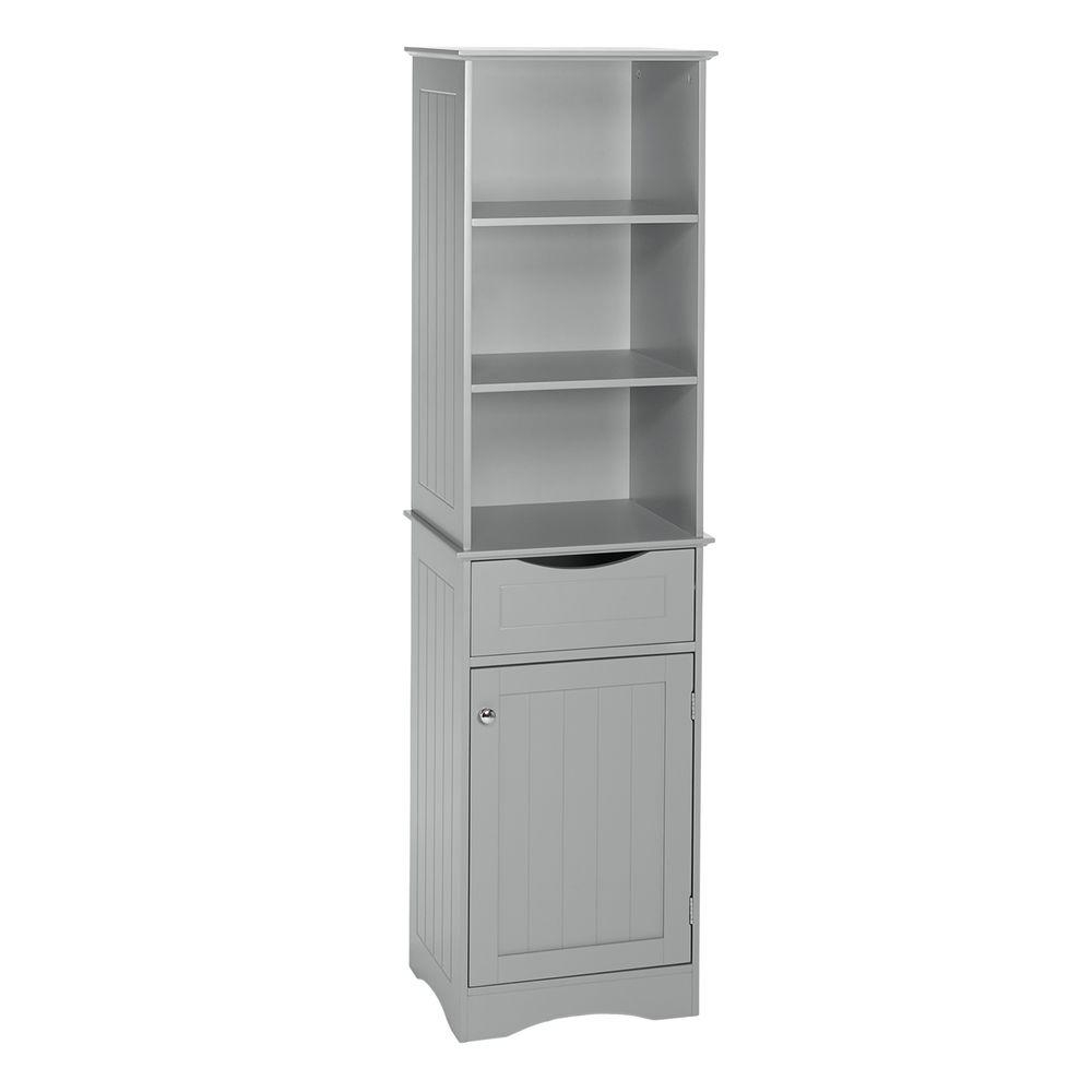 Riverridge Home Ashland 16 12 In W X 60 In H Bathroom Linen Storage Tower Cabinet In Gray within size 1000 X 1000