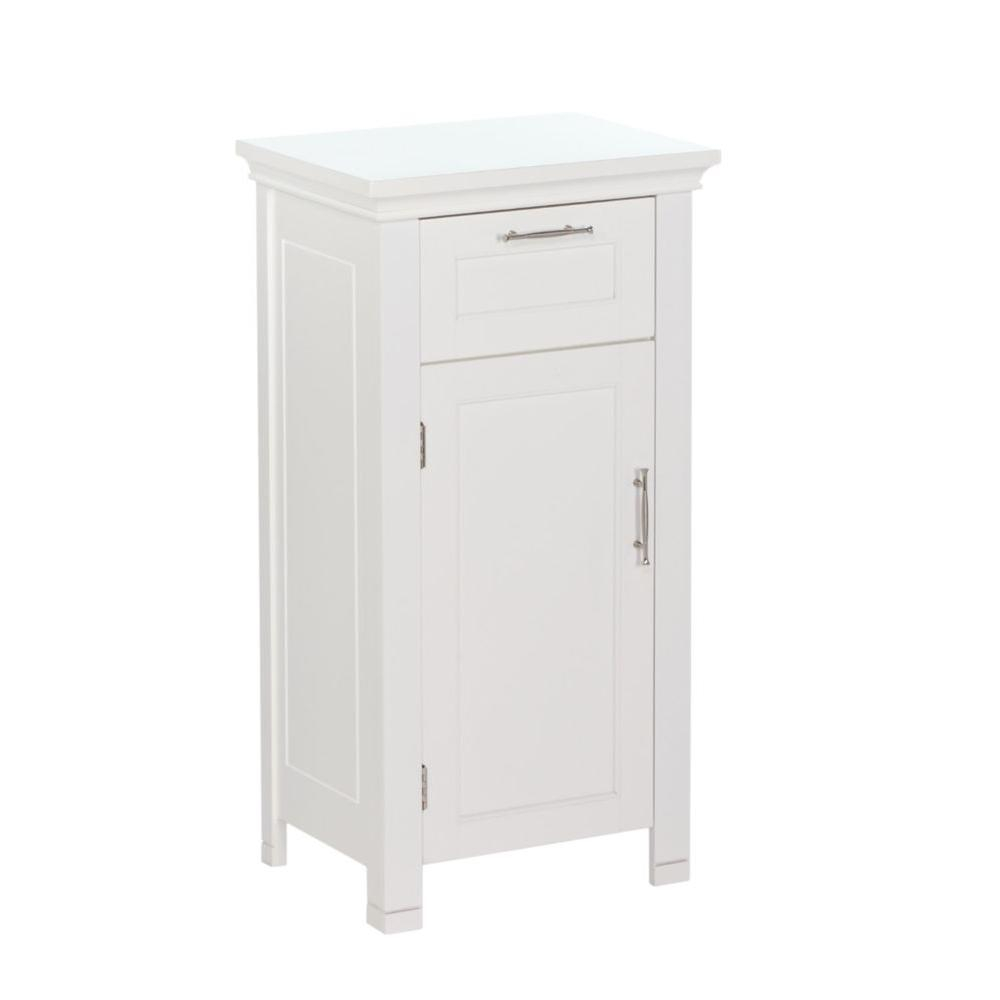 Riverridge Home Somerset Collection 16 In W X 30 In H X 12 In D Single Door Floor Cabinet In White in proportions 1000 X 1000
