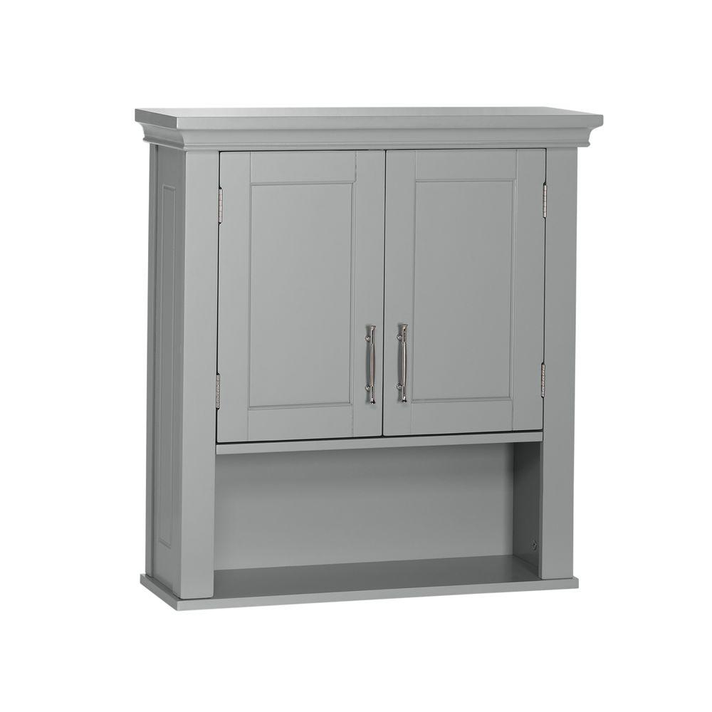 Riverridge Home Somerset Collection 2288 In W X 2438 In H X 788 In D 2 Door Wall Cabinet In Gray for dimensions 1000 X 1000