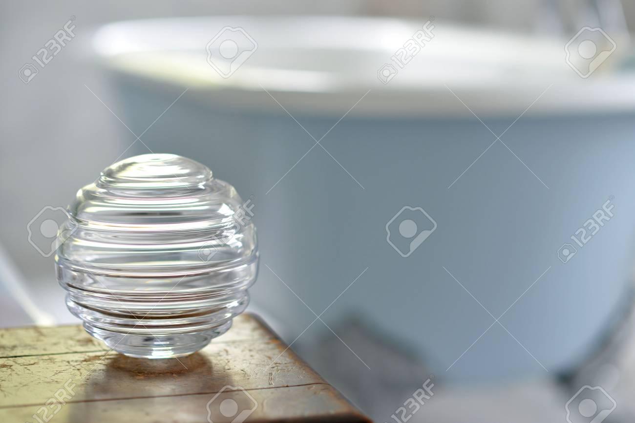 Round Decorative Glass Storage Jars In A Bathroom with regard to size 1300 X 866