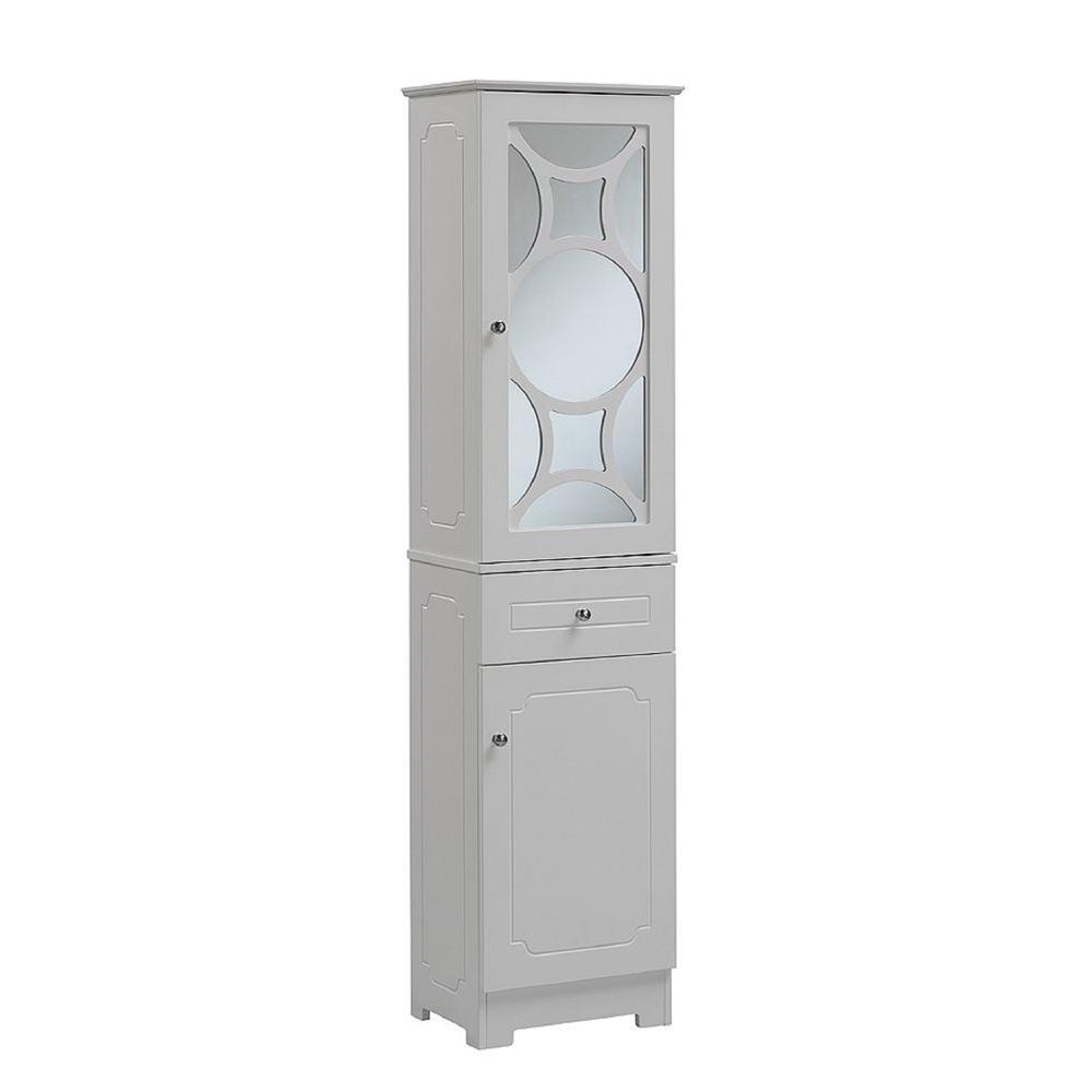 Runfine 16 In W X 64 In H X 12 In D Wood Bathroom Linen Storage Tower Cabinet In White within size 1000 X 1000