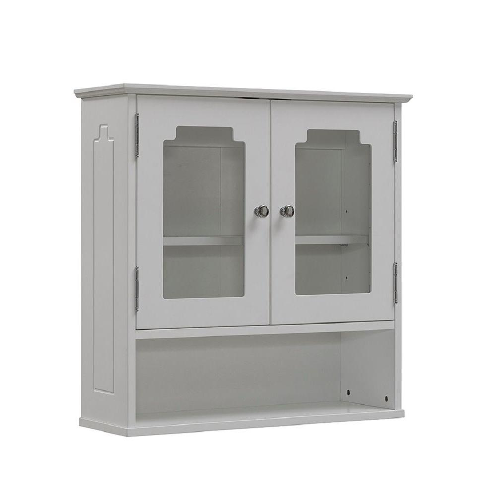 Runfine 24 In W X 24 In H X 8 In D Bathroom Storage Wall Cabinet With Glass Door In White regarding measurements 1000 X 1000