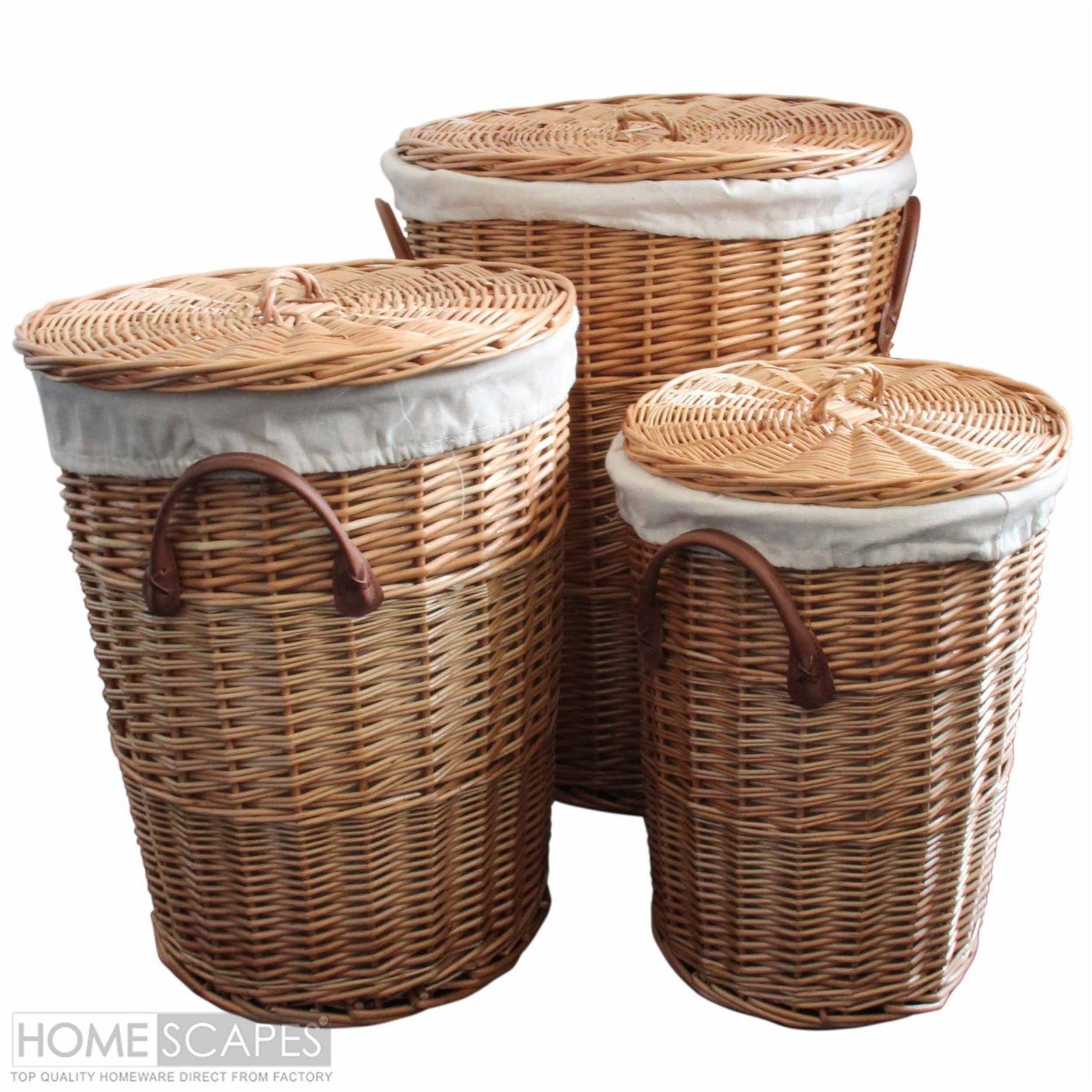 Set Of 3 Natural Round Willow Wicker Laundry Baskets within proportions 1600 X 1600