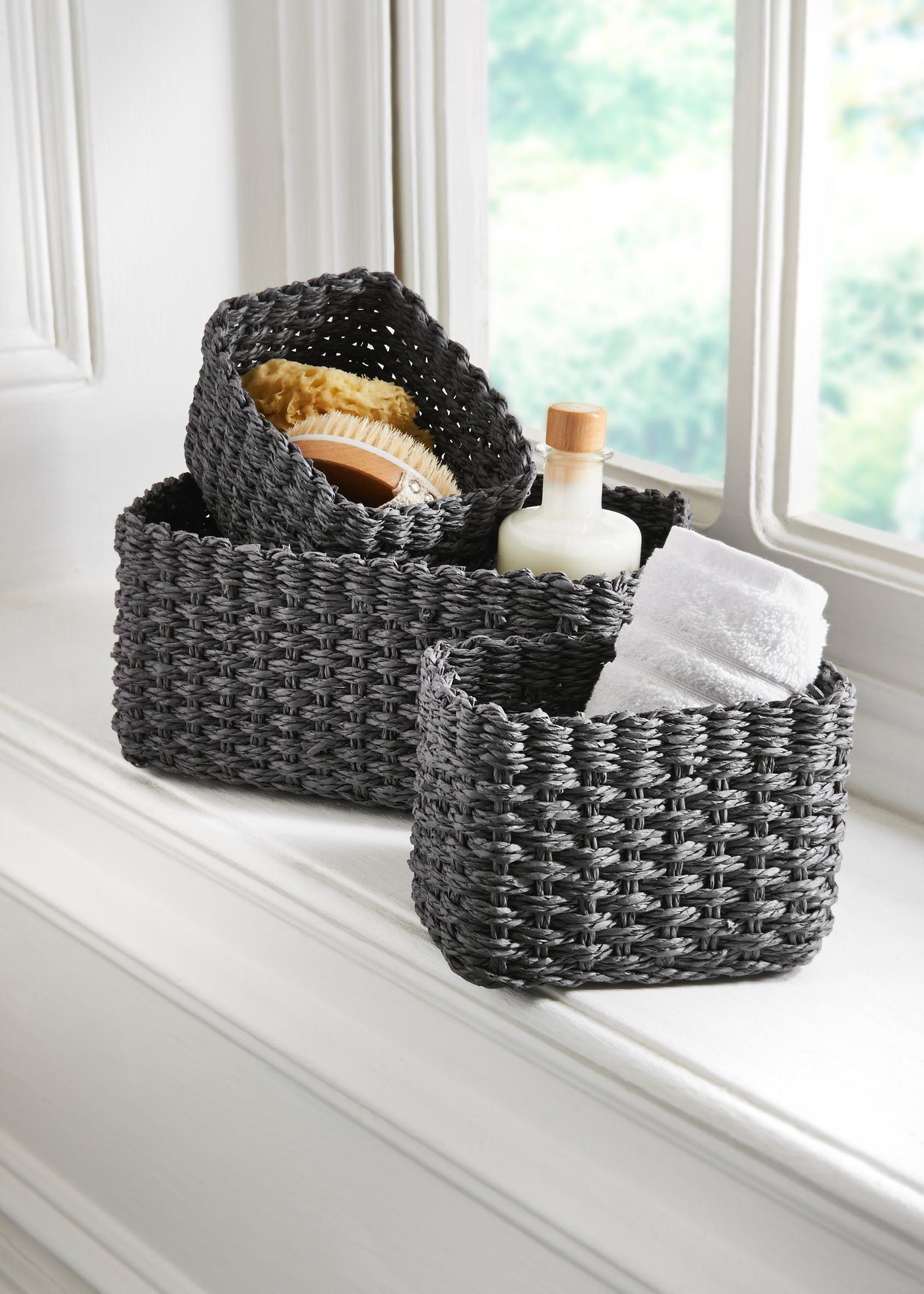 Set Of 3 Paper Rope Storage Baskets B A T H R O O M in dimensions 1691 X 2368